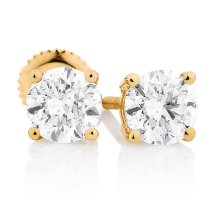 Classic Stud Earrings with 0.96 Carat TW of Diamonds in 14kt Yellow Gold