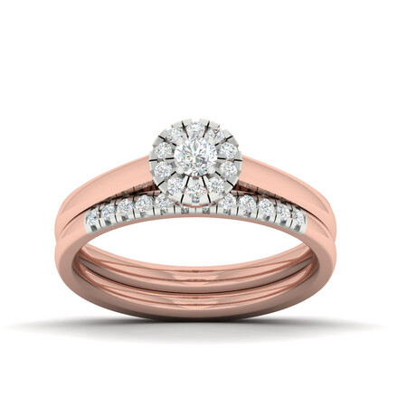Bridal Set with 0.40 Carat TW of Diamonds in 10kt White & Rose Gold