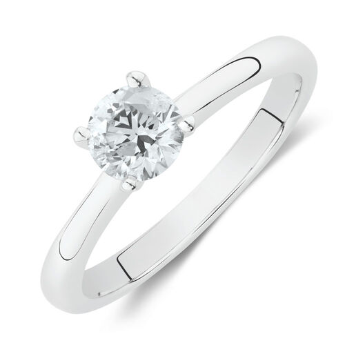 Solitaire Engagement Ring With a 1/2 Carat TW Certified Canadian Diamond in 14kt White Gold