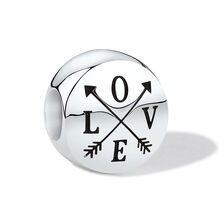 """""""Love"""" Charm in Sterling Silver"""