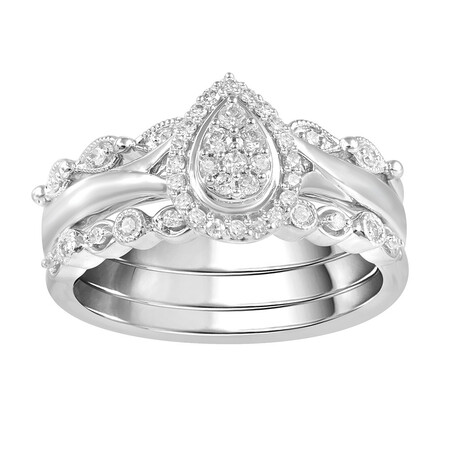 3 Piece Ring Set with 1/4 Carat TW of Diamonds in 10kt White Gold