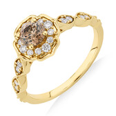 Evermore Engagement Ring with 0.75 Carat TW of Brown & White Diamonds in 14kt Yellow Gold