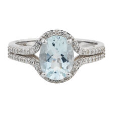 Online Exclusive - Ring with 1/4 Carat TW of Diamonds & Aquamarine in 10kt White Gold