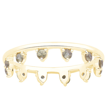 Zipper Ring with Yellow Sapphire in 10kt Yellow Gold
