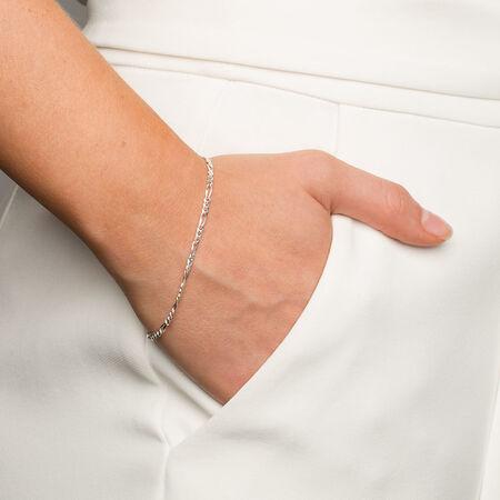 """19cm (7.5"""") Figaro Bracelet in Sterling Silver"""