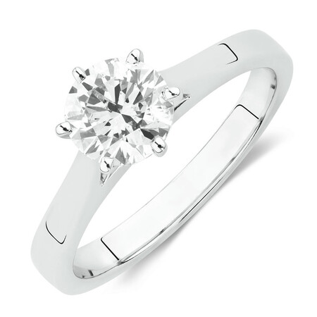 Solitaire Engagement Ring with a 1 Carat Diamond in 14kt White Gold