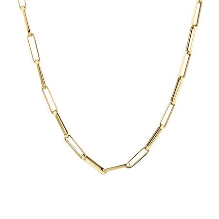 45cm Hollow Rektangular Link Chain in 10kt Yellow Gold