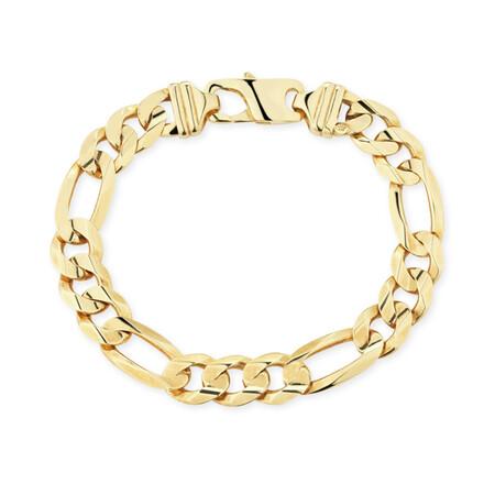"23cm (9.5"") Figaro Bracelet in 10kt Yellow Gold"