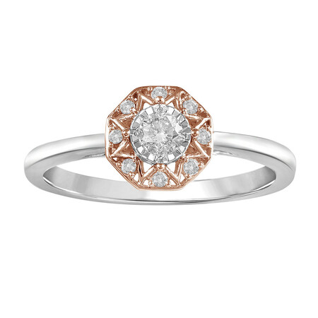 Ring with 0.20 Carat TW of Diamonds in 10kt Rose & White Gold
