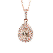 Sir Michael Hill Designer Fashion Pendant with Morganite & 0.20 Carat TW of Diamonds in 10kt Rose Gold