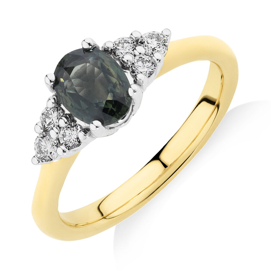 Ring with Green Sapphire & 0.20 Carat TW of Diamonds in 10kt Yellow & White Gold
