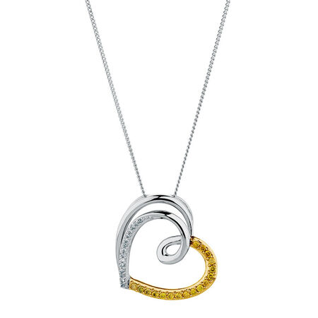 City Lights Pendant with 0.20 Carat TW of Enhanced Yellow Diamonds in Sterling Silver
