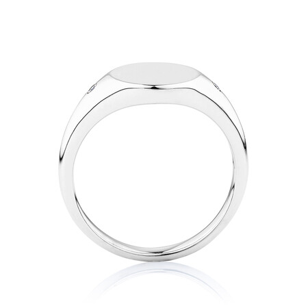 Signet Ring with Diamonds in Sterling Silver