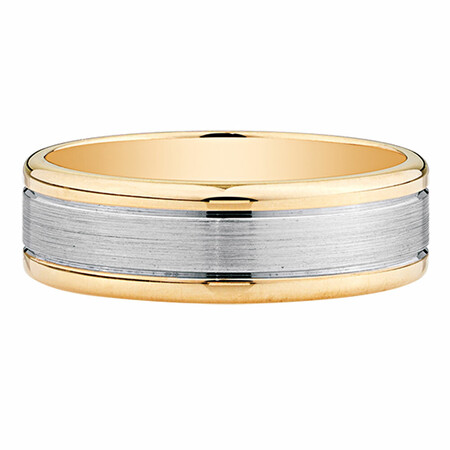 Men's Wedding Band in 10kt Yellow & White Gold