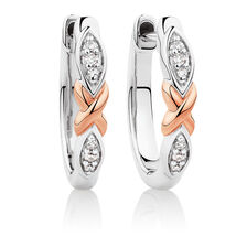 Huggie Earrings with Diamonds in Sterling Silver & 10kt Rose Gold
