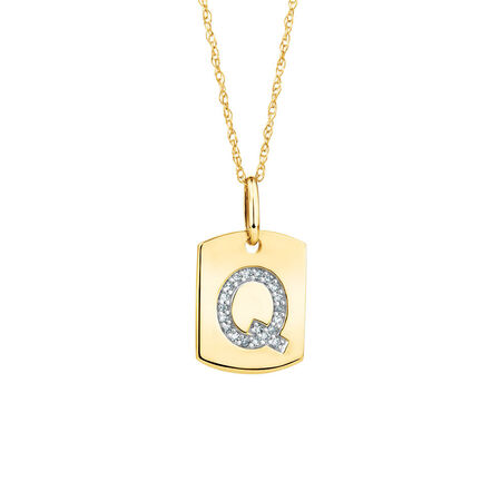 """Q"""" Initial Rectangular Pendant With Diamonds In 10kt Yellow Gold"""