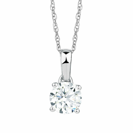 Solitaire Pendant with a 1 Carat Diamond in 18kt White Gold