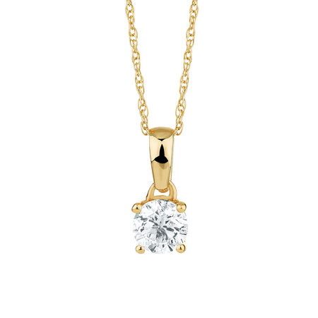 Solitaire Pendant with a 1/2 Carat Diamond in 18kt Yellow Gold