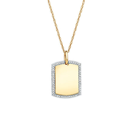 Rectangular Frame Pendant With Diamonds In 10kt Yellow Gold