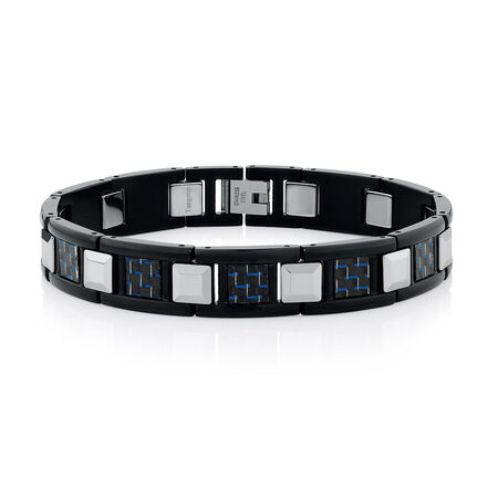 Men's Bracelet in Carbon Fibre, Tungsten & Stainless Steel