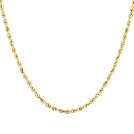 "55cm (22"") Hollow Rope Chain in 10kt Yellow Gold"