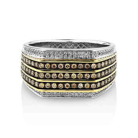 Men's Ring with 3/4 Carat TW of Brown & White Diamonds in 10kt Yellow & White Gold