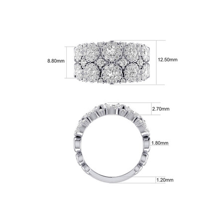 Bubble Ring with 2 Carat TW of Diamonds in 14kt White Gold