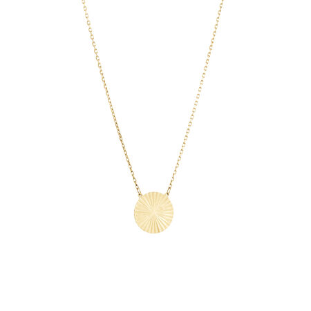 Circle Disc Necklace in 10kt Yellow Gold