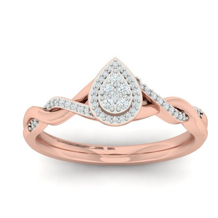 Twist Ring with 0.15 Carat TW of Diamonds in 10kt Rose Gold