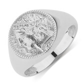 Large Coin Ring In Sterling Silver