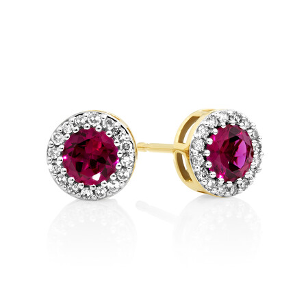Halo Earrings with Created Ruby and 0.18 Carat TW of Diamonds in 10kt Yellow gold