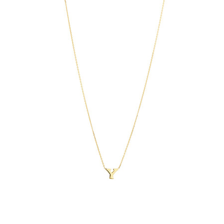 """Y"" Initial Necklace in 10kt Yellow Gold"