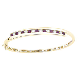 Bangle with Natural Ruby & 0.72 Carat TW of Diamonds in 10kt Yellow Gold