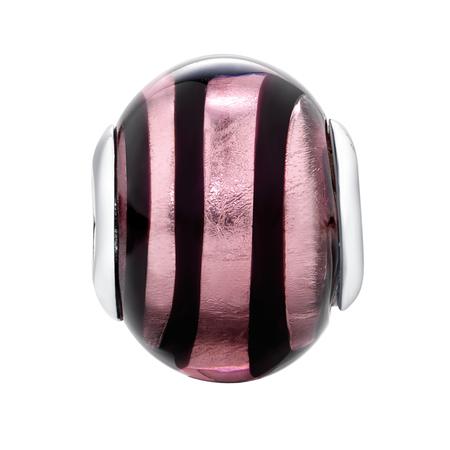 Purple & Black Swirl Murano Glass Charm