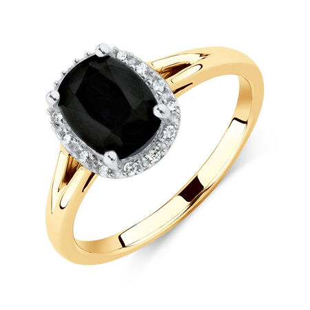 Ring with Diamonds & Natural Black Sapphire in 10kt Yellow & White Gold