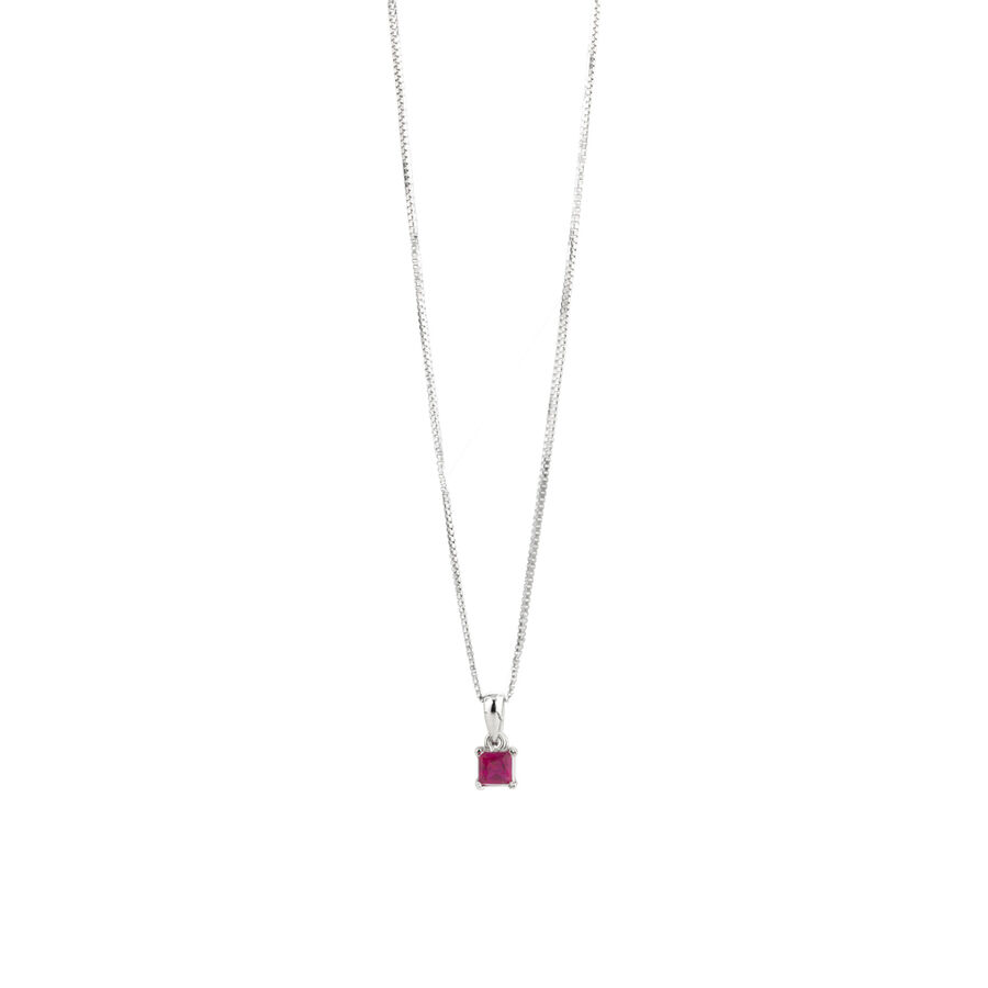 Square Pendant with Ruby Cubic Zirconia in Sterling Silver