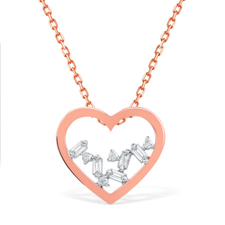 Heart Necklace With Diamonds In 10kt Rose Gold