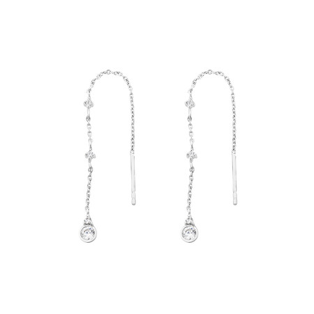 Droplet Threader Earrings with Cubic Zirconia in Sterling Silver