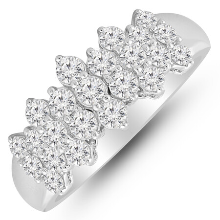 Cluster Ring with 1.00 Carat TW of Diamonds in 10kt White Gold