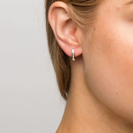 Hoop Earrings with 0.15 Carat TW of Diamonds in 10kt White Gold