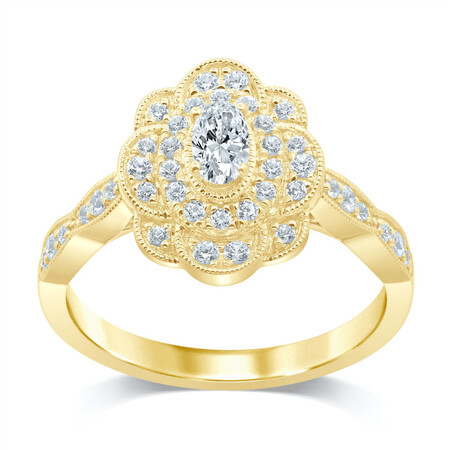 Flower Ring with 1/2 Carat TW of Diamonds in 14kt Yellow Gold