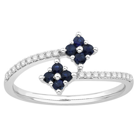Ring with Sapphire & Diamond in 10kt White Gold