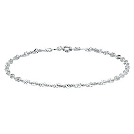 "19cm (7.5"") Singapore Bracelet in 10kt White Gold"