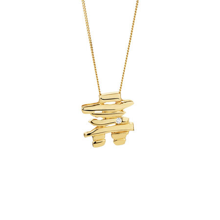 Inukshuk Pendant with Diamonds in 10kt Yellow Gold