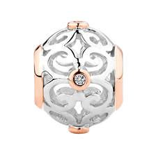 Diamond Set, Sterling Silver & 10kt Rose Gold Filigree Charm