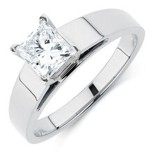 Solitaire Engagement Ring with a 0.95 Carat Diamond in 14kt White Gold