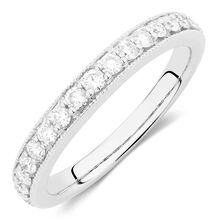 Wedding Band with 1/2 TW of Diamonds in 14kt White Gold