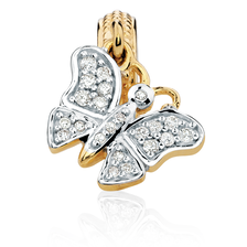 Diamond Set & 10kt Gold Butterfly Charm