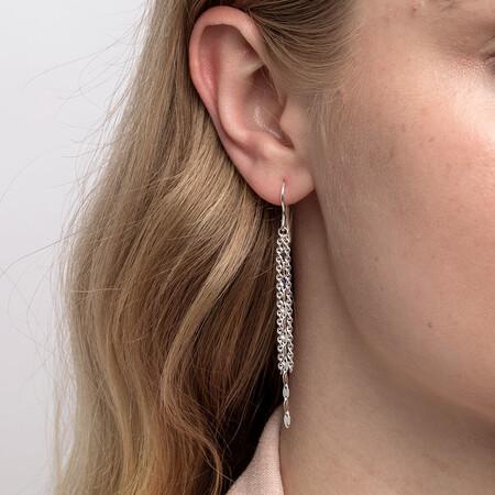 Triple Strand Drop Earrings in Sterling Silver