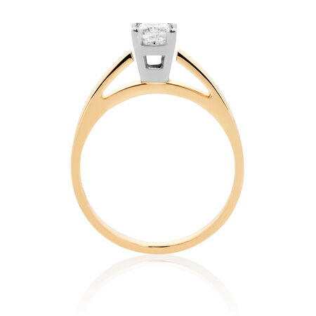 Solitaire Engagement Ring with a 0.45 Carat Diamond in 14kt Yellow & White Gold
